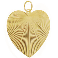Vintage Large Sunrise Heart 14k Gold Charm