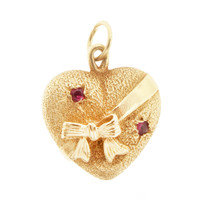 Vintage Wrapped Heart  With Rubies 14K Gold Charm