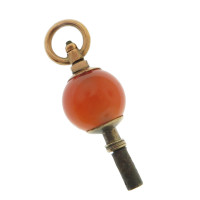 Vintage Agate Watch Key 15k Gold Charm