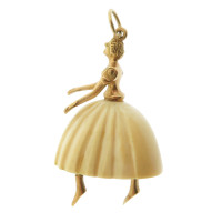 Vintage Articulated Resin Ballerina 14k Gold Charm