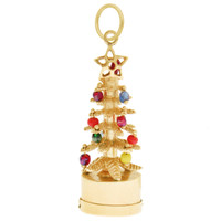 Vintage Christmas Tree with Light 14k Gold Charm