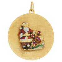 Vintage Enameled Santa Claus With Rubies 14k Gold Charm