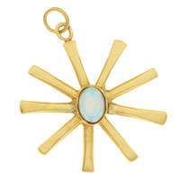 Vintage Starbust With Opal 14k Gold Charm