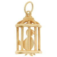 Vintage Bird In Cage 14k Gold Charm