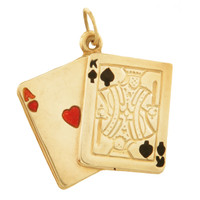 "Vintage ""21"" blackjack 14k Gold Charm"