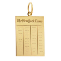 Vintage New York Times Newspaper 14k Gold Charm