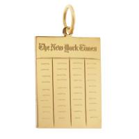 Vintage New York Times Newspaper 14K Gold Charm