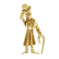 Vintage Man Who TIps His Hat 14k Gold Charm