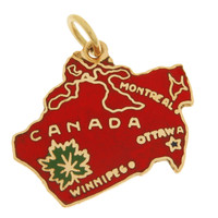 Vintage Enameled Map Of Canada 14k Gold Charm