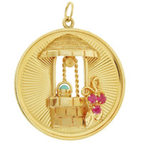 Vintage Engine Turned Wishing Well Disc 14k Gold Charm