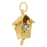 Vintage Movable Cuckoo Clock 14k Gold Charm