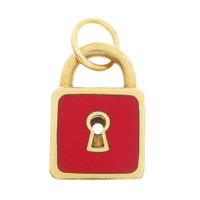 Vintage Red Enamel Lock 18k Gold Charm