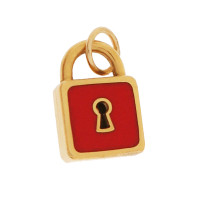 Vintage Red Enamel Lock 18k Gold Charm