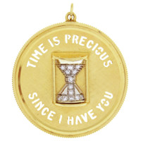 """Vintage """"Time is Precious"""" Disc 14k Gold Charm"""