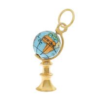 Vintage Little Blue Globe 15k Gold Charm