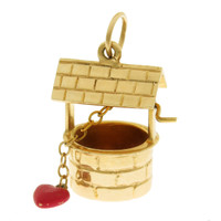 Vintage Lovers Wishing Well 14k Gold Charm