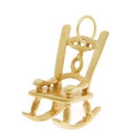 Vintage Golden Rocking Chair 14k Gold Charm