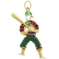 Vintage Gem Set Baseball Player 14k Gold Charm