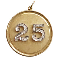 "Vintage Diamond Number ""25"" 14k Gold Disc Charm"