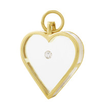 Vintage Heart With Floating Diamond 14K Gold Charm
