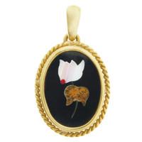 Vintage Pietra Dura Flower 18k Gold Charm