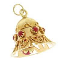 Vintage Large Bell With Coral 18k Gold Charm