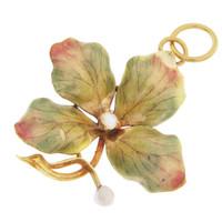 Vintage Enamel Clover Charm/Pin 14k Gold Charm