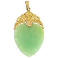 Vintage Jade Heart 22K Gold Charm