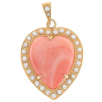 Vintage Coral & Seed Pearl Heart 14K Gold Charm