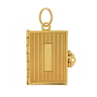 Vintage Engravable Book 14k Gold Charm