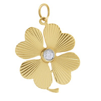 Vintage Diamond Clover 14k Gold Charm