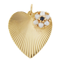 Vintage Sapphire & Pearl Flower Heart 14K Gold Charm