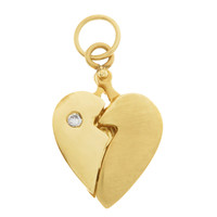 Vintage Hidden Message Heart With Diamond 14k Gold Charm