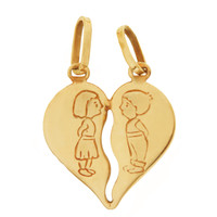 Vintage Boy Loves Girl 14k Gold Charm