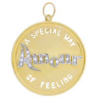 "Vintage Diamond ""Amour"" 14k Gold Disc Charm"
