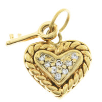 Vintage Diamond Heart With Key 14k Gold Charm