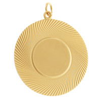 Vintage Large Disc With Engravable Circle Gold Charm