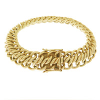 Vintage Woven Interlocking 14k Gold Charm Bracelet