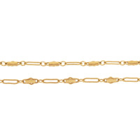 Vintage Decorative Link 14k Gold Charm Necklace