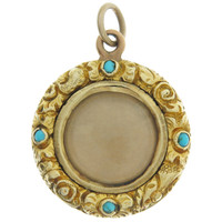 Vintage Georgian Locket With Turquoise 15k Gold Charm