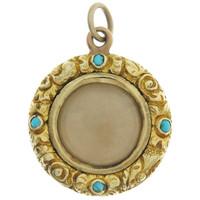 Vintage Georgian Locket With Turquoise 15k Gold Charm