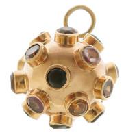 Vintage Sputnik Multi Gemstone 18k Gold Charm