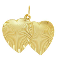 Vintage Double Heart 14K Gold Charm