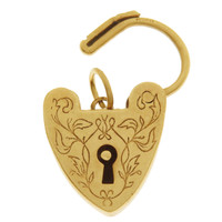 Vintage Engraved Heart Clasp 9K Gold Charm