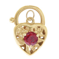 Vintage Heart Lock With Garnet 9K Gold Charm