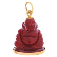 Vintage Agate Buddha 18k Gold Charm