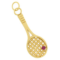 Vintage Tennis Racquet with Ruby 14k Gold Charm