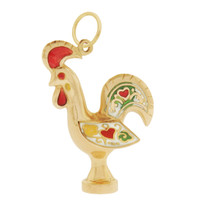 Vintage Large Red Rooster 18k Gold Charm