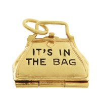 "Vintage ""Its in the bag"" 14k Gold Charm"