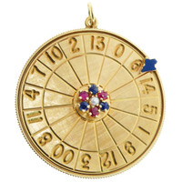 Vintage Gem Set Roulette Wheel 14k Gold Charm
